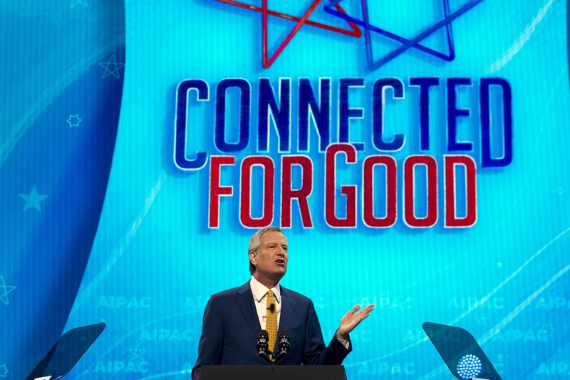 FILE - This March 25, 2019 file photo shows New York City Mayor Bill de Blasio as he speaks during the 2019 American Israel Public Affairs Committee (AIPAC) policy conference, at Washington Convention Center, in Washington, Monday, March 25, 2019. (AP Photo/Jose Luis Magana, File)