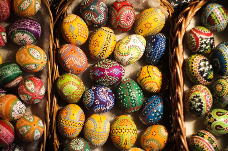 Easter eggs present at a traditional Easter Market of Germany's Sorb minority in the village Neuwiese, near the city of Hoyerswerda in east Germany, Sunday, April 14, 2019. (AP Photo/Markus Schreiber)
