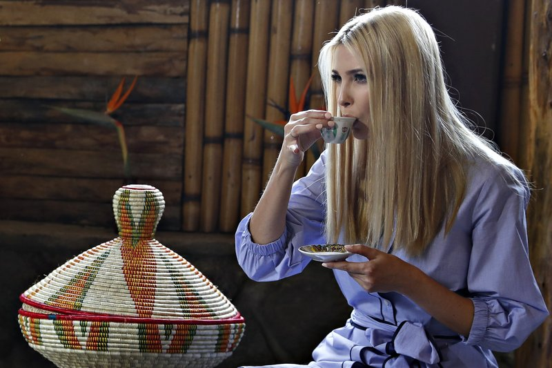 White House senior adviser Ivanka Trump sips coffee during a coffee ceremony at Dumerso Coffee, Sunday April 14, 2019, in Addis Ababa, Ethiopia. (AP Photo/Jacquelyn Martin)