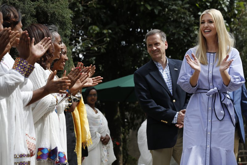 White House senior adviser Ivanka Trump, right, reacts as she is greeted with singing and dancing at Muya, a textile and traditional crafts manufacturing center, Sunday April 14, 2019, in Addis Ababa, Ethiopia. (AP Photo/Jacquelyn Martin)