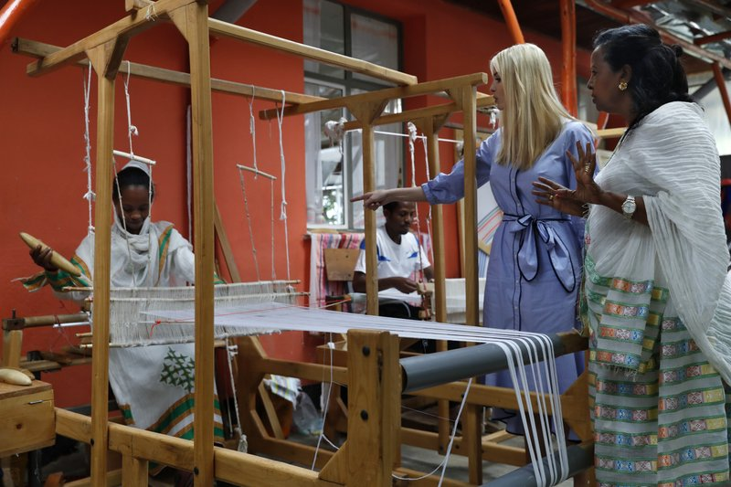White House senior adviser Ivanka Trump, with Muya founder Sara Abera, right, tours traditional weaving at Muya, a manufacturing center of textiles and traditional crafts, Sunday April 14, 2019, in Addis Ababa, Ethiopia. (AP Photo/Jacquelyn Martin)