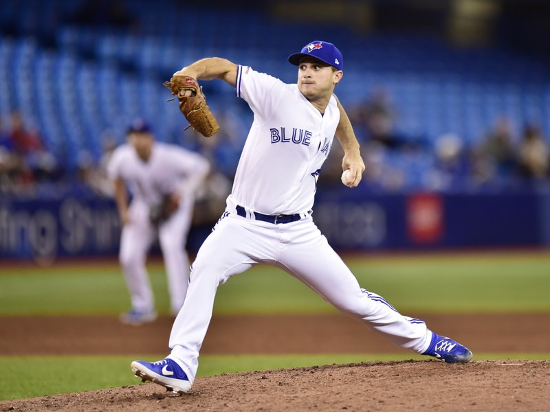 Toronto Blue Jays relief pitcher Thomas Pannone (45) delivers a strike to home plate during fifth inning baseball action against the Tampa Bay Rays in Toronto on Sunday, April 14, 2019. (Frank Gunn/The Canadian Press via AP)