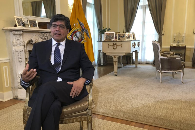 Ecuadorean Foreign Minister Jose Valencia speaks during an interview with The Associated Press at the residence of the ambassador of Ecuador to the U. (AP Photo/Luis Alonso Lugo)