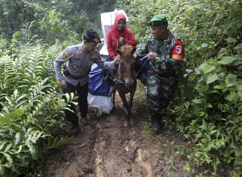 A police officer and a soldier assist a worker as they use horses to distribute ballot boxes and other election paraphernalia to polling stations in remote villages in Tempurejo, East Java, Indonesia, Monday, April 15, 2019. (AP Photo/Trisnadi)