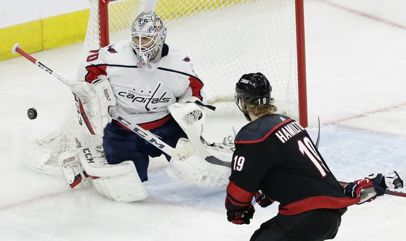 Carolina Hurricanes' Dougie Hamilton (19) shoots on goal while Washington Capitals goalie Braden Holtby (70) defends during the second period of Game 3 of an NHL hockey first-round playoff series in Raleigh, N. (AP Photo/Gerry Broome)