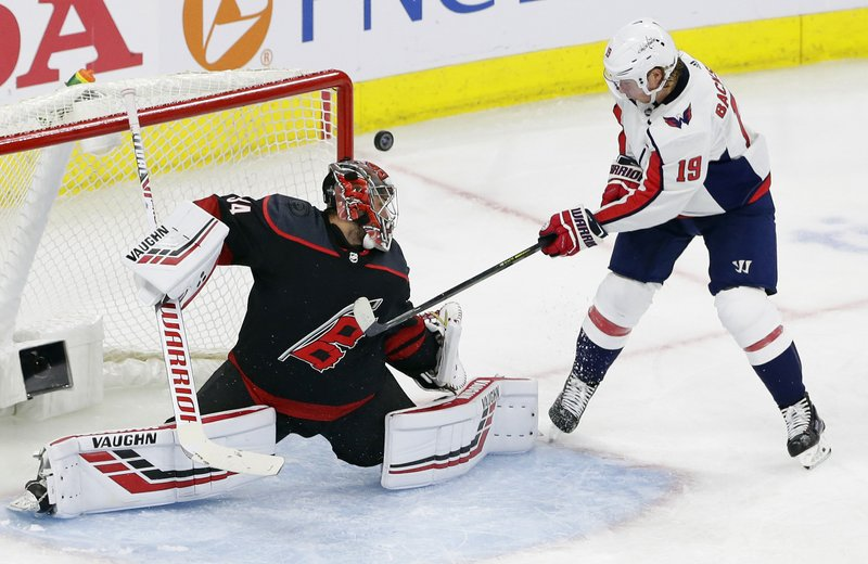 Carolina Hurricanes goalie Petr Mrazek, of the Czech Republic, blocks Washington Capitals' Nicklas Backstrom (19), of Sweden, during the third period of Game 3 of an NHL hockey first-round playoff series in Raleigh, N. (AP Photo/Gerry Broome)
