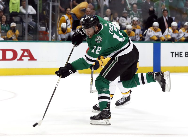 Dallas Stars center Radek Faksa (12) shoots against the Nashville Predators in the first period of Game 3 in an NHL hockey first-round playoff series in Dallas, Monday, April 15, 2019. (AP Photo/Tony Gutierrez)
