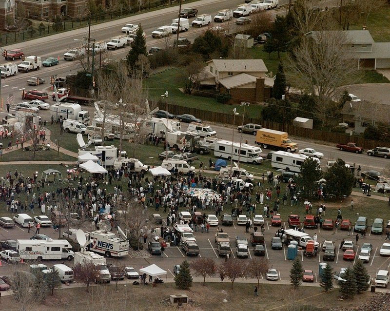 FILE - This April 21, 1999, file photo, shows the news media compound near Columbine High School in Littleton, Colo. (AP Photo/Ed Andrieski, File)