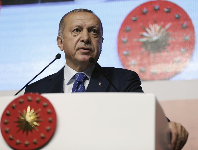 Turkey's President Recep Tayyip Erdogan speaks at an assembly for religious schools, in Istanbul, Saturday, April 13, 2019. (Presidential Press Service via AP, Pool)