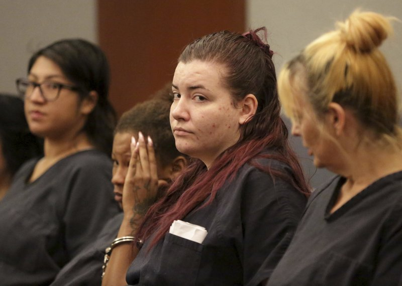 Diana Pena, one of three suspects in the killing of a California doctor, appears in court Tuesday, April 16, 2019, in Las Vegas. (Michael Quine/Las Vegas Review-Journal via AP)