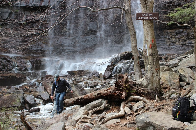 Gary Meinhardt hikes the Glen Onoko Falls Trail in Jim Thorpe, Pa., Tuesday, April 16, 2019. Meinhardt and other hikers are opposed to a Pennsylvania Game Commission plan to shut down the popular falls trail over safety concerns. (AP Photo/Michael Rubinkam)