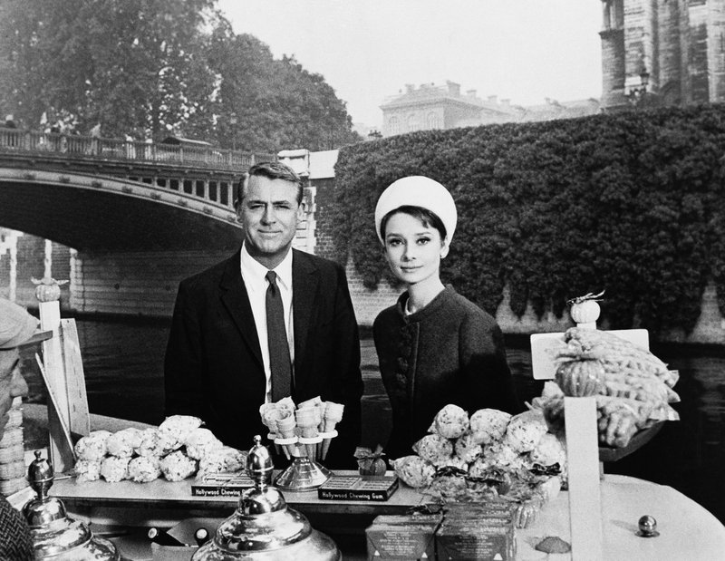 FILE - In this October 1963 file photo, actors Cary Grant and Audrey Hepburn are photographed for the film
