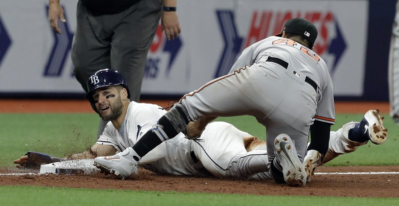 Tampa Bay Rays' Kevin Kiermaier, left, is tagged out by Baltimore Orioles' Rio Ruiz while trying to steal third base during the seventh inning of a baseball game Tuesday, April 16, 2019, in St. (AP Photo/Chris O'Meara)