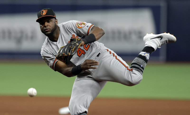 Baltimore Orioles second baseman Hanser Alberto can't get Tampa Bay Rays' Kevin Kiermaier at first on an infield single during the seventh inning of a baseball game Tuesday, April 16, 2019, in St. (AP Photo/Chris O'Meara)