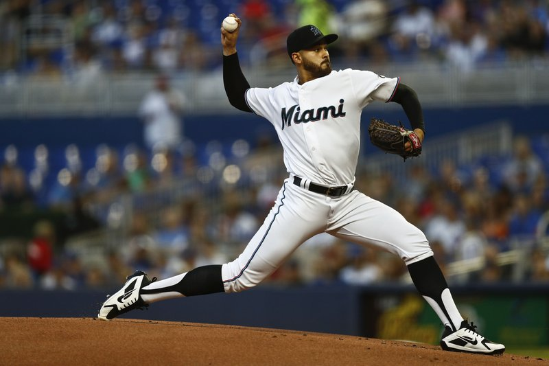 Miami Marlins starting pitcher Pablo Lopez delivers during the first inning of a baseball game against the Chicago Cubs on Tuesday, April 16, 2019, in Miami. (AP Photo/Brynn Anderson)