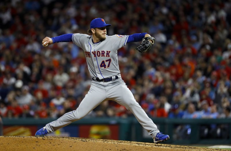 New York Mets' Drew Gagnon pitches during the fourth inning of a baseball game against the Philadelphia Phillies, Tuesday, April 16, 2019, in Philadelphia. (AP Photo/Matt Slocum)