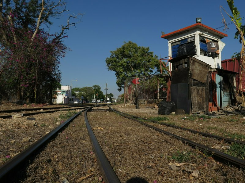 A former train stop, called La Plancha, stands next to an old railroad in Merida, Mexico, Thursday, April 11, 2019. (AP Photo/Peter Orsi)