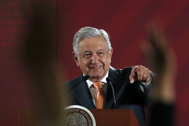FILE - In this April 9, 2019. file photo, Mexican President Andres Manuel Lopez Obrador answers questions from journalists at his daily 7 a. (AP Photo/Marco Ugarte, File)