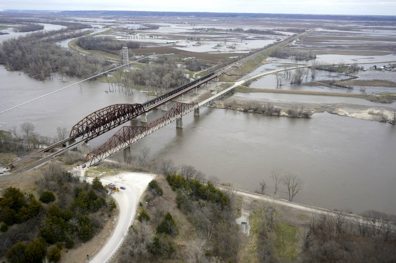 In this Friday, April 12, 2019 photo, bridges over the Missouri River connect Plattsmouth, Neb., bottom, and Mills County, Iowa, top. (AP Photo/Nati Harnik)
