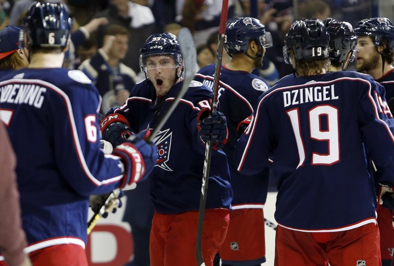 Columbus Blue Jackets' Matt Duchene celebrates the team's win over the Tampa Bay Lightning in Game 4 of an NHL hockey first-round playoff series, Tuesday, April 16, 2019, in Columbus, Ohio. (AP Photo/Jay LaPrete)