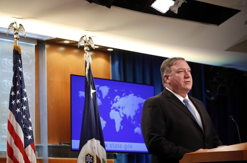 Secretary of State Mike Pompeo speaks during a news conference at the State Department in Washington, Wednesday, April 17, 2019. (AP Photo/Pablo Martinez Monsivais)