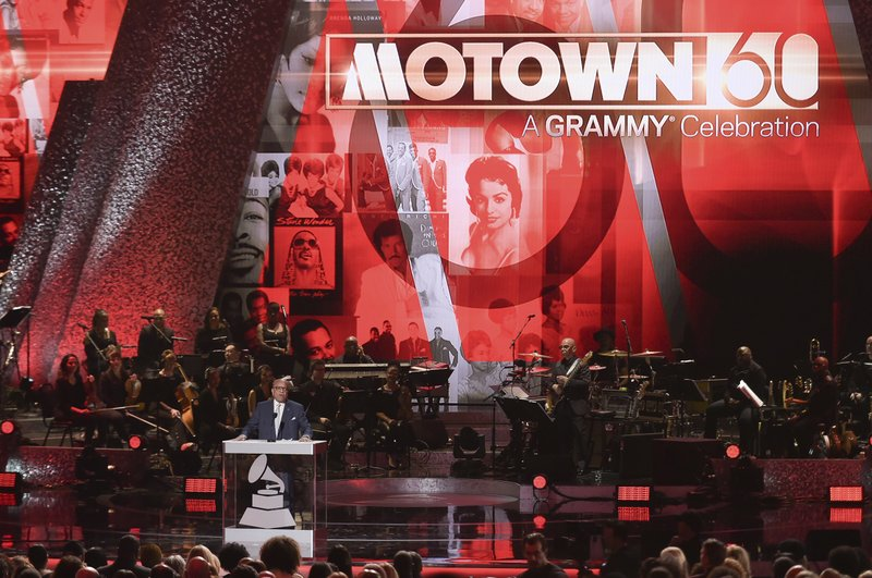 FILE - In this Feb. 12, 2019 file photo, Berry Gordy speaks onstage during Motown 60: A GRAMMY Celebration at the Microsoft Theater in Los Angeles. (Photo by Richard Shotwell/Invision/AP, File)