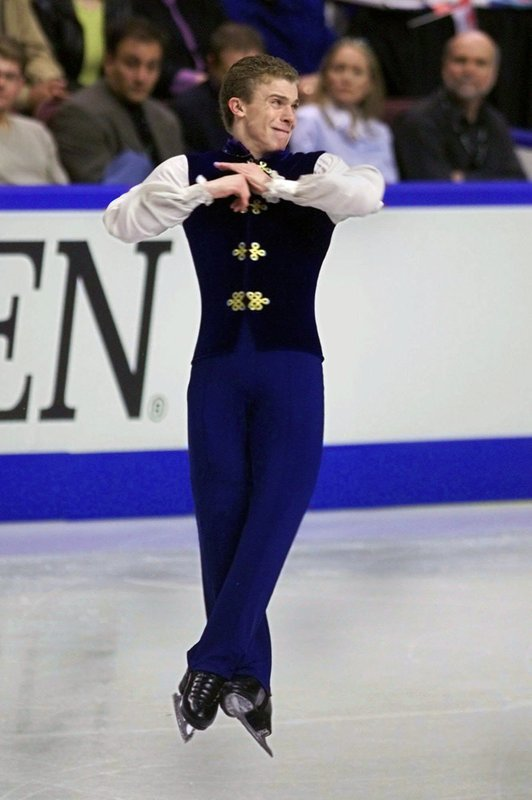 FILE - In this March 22, 2001, file photo, Timothy Goebel, of the United States, competes in the men's free skate at the World Figure Skating Championships, in Vancouver, British Columbia. (AP Photo/Amy Sancetta, File)
