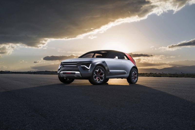 This undated product image provided by Kia Motors shows the Kia HabaNiro Concept. The futuristic-looking SUV has winged doors, and Kia says it will be able to go more than 300 miles on a single electric charge. (Kia Motors via AP)