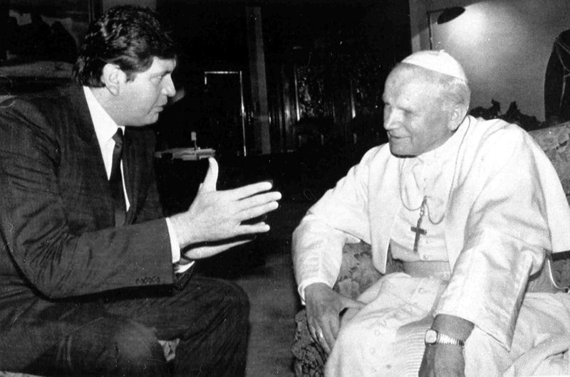 FILE - In this May 15, 1988 file photo, President of Peru Alan García visits with Pope John Paul II in the Presidential Palace, in Lima, Peru. (AP Photo, File)