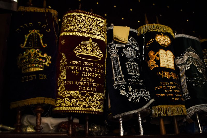 This March 27, 2019 photo shows the Torah scrolls in the ark of Em Habonim Synagogue of Casablanca, Morocco. (Mishael Sims via AP)