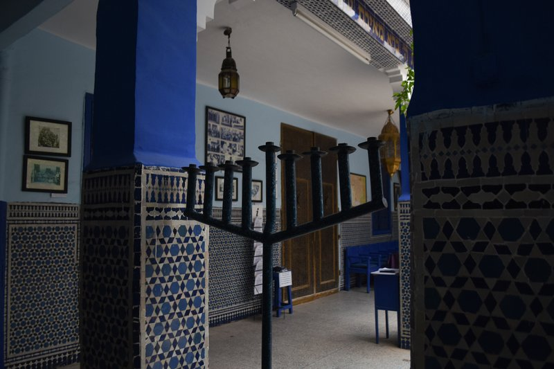 This March 29, 2019, photo shows a menorah at Lazama Synagogue in Marrakech, Morocco. The North African kingdom once had a thriving Jewish population. (Mishael Sims via AP)