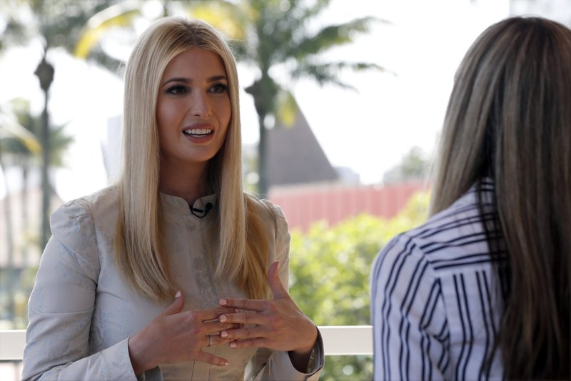 White House senior adviser Ivanka Trump speaks during an interview with The Associated Press, Wednesday April 17, 2019, in Abidjan, Ivory Coast, where Trump is promoting a White House global economic program for women. (AP Photo/Jacquelyn Martin)