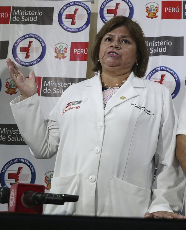 Health Minister Zulema Tomas speaks at a news conference at the Casimiro Ulloa hospital where former Peruvian President Alan Garcia was taken after he shot himself, in Lima, Peru, Wednesday, April 17, 2019. (AP Photo/Martin Mejia)