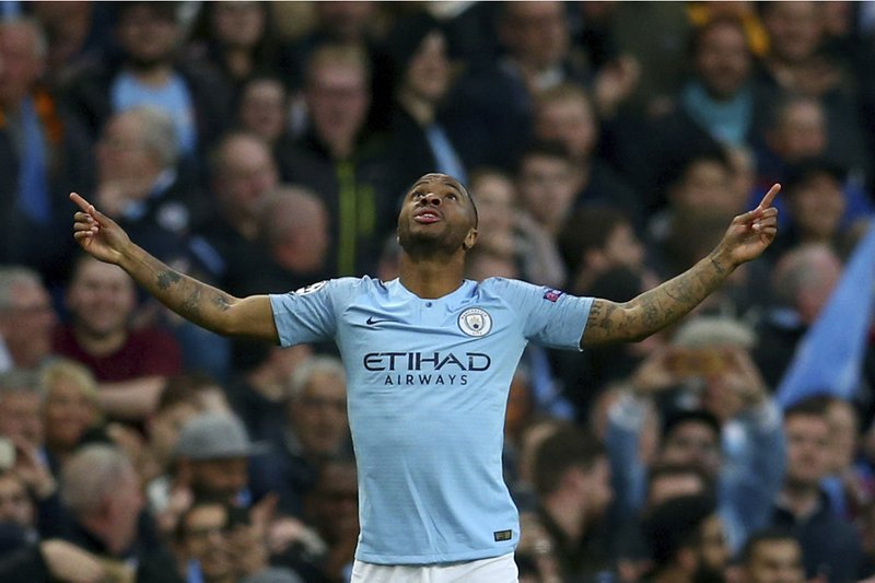 Manchester City's Raheem Sterling celebrates scoring during the Champions League quarterfinal, second leg, soccer match between Manchester City and Tottenham Hotspur at the Etihad Stadium in Manchester, England, Wednesday, April 17, 2019. (AP Photo/Dave Thompson)