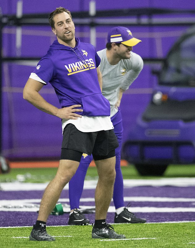 Minnesota Vikings wide receiver Adam Thielen stretches before practice at the Twin Cities Orthopedic Center in Eagan, Minn., Tuesday, April 16, 2019. Elizabeth Flores/Star Tribune via AP)