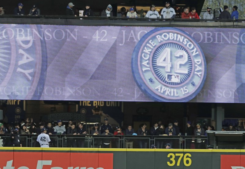Seattle Mariners starting pitcher Yusei Kikuchi wears No. 42 in honor of Jackie Robinson Day as he warms up in the bullpen before a baseball game against the Cleveland Indians, Monday, April 15, 2019, in Seattle. (AP Photo/Ted S. Warren)