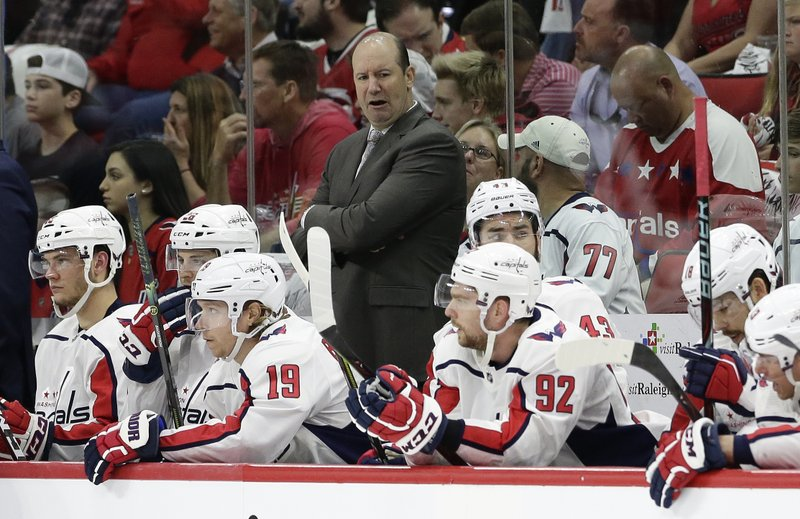 Washington Capitals coach Todd Reirden reacts during the first period of Game 3 of an NHL hockey first-round playoff series against the Carolina Hurricanes in Raleigh, N. (AP Photo/Gerry Broome)