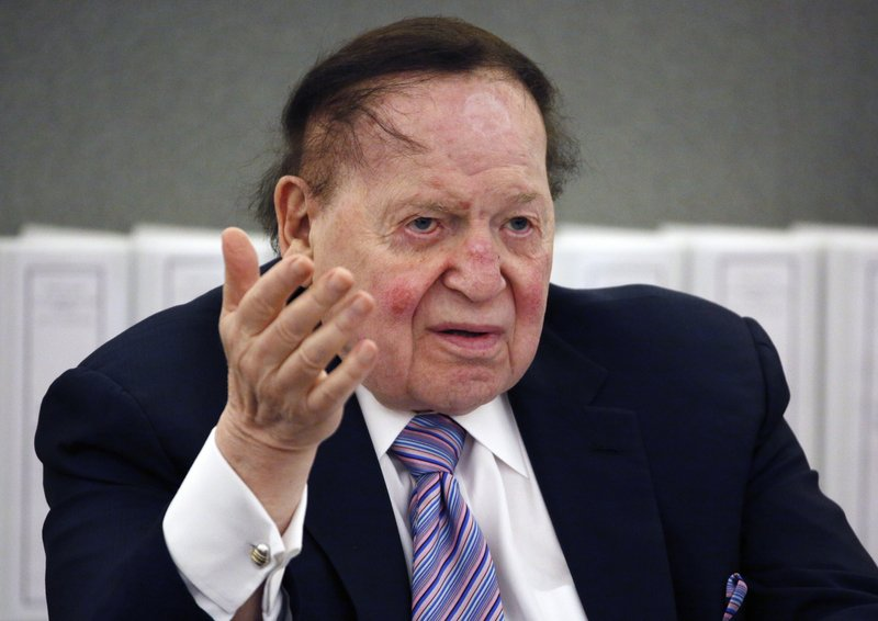 FILE - In this May 4, 2015, file photo, Las Vegas Sands Corp. Chairman and CEO Sheldon Adelson speaks in Las Vegas. (AP Photo/John Locher, File)