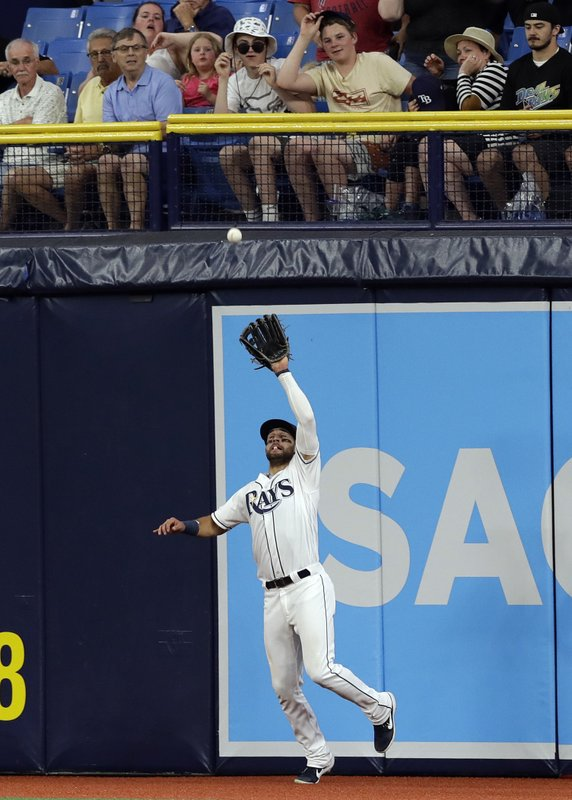 Tampa Bay Rays center fielder Kevin Kiermaier makes the catch on a flyout by Baltimore Orioles' Trey Mancini during the sixth inning of a baseball game Wednesday, April 17, 2019, in St. (AP Photo/Chris O'Meara)