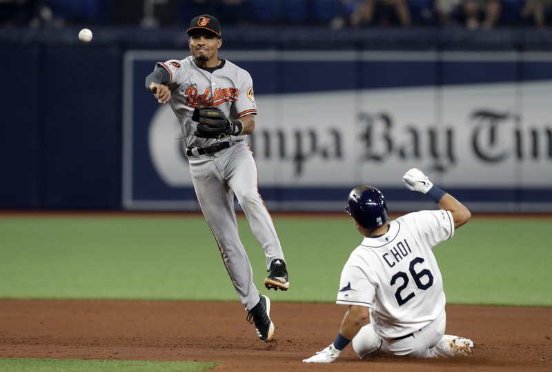 Baltimore Orioles shortstop Richie Martin (1) forces Tampa Bay Rays' Ji-Man Choi (26) at second base and relays the throw to first in time to turn double play on Yandy Diaz during the fifth inning of a baseball game Wednesday, April 17, 2019, in St. (AP Photo/Chris O'Meara)
