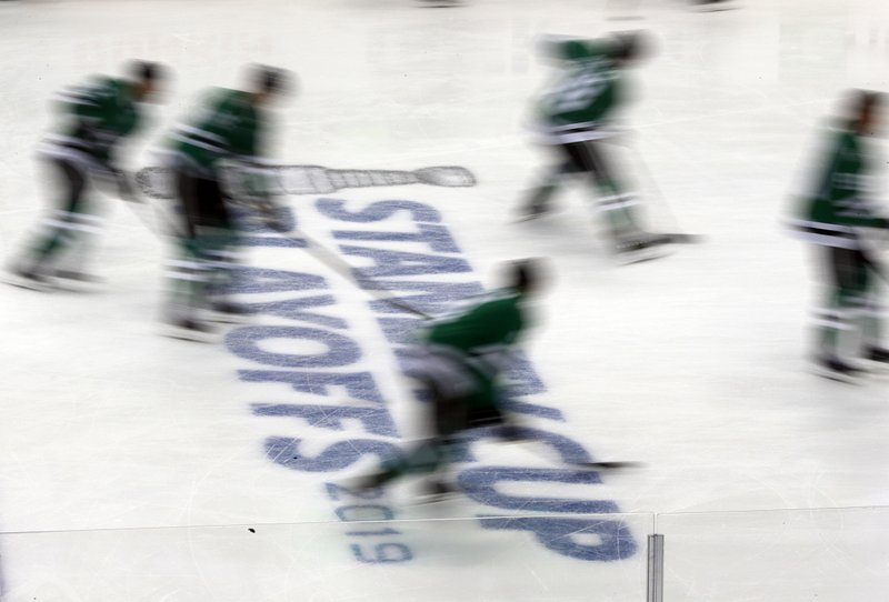 Dallas Stars warm up for Game 4 against the Nashville Predators in an NHL hockey first-round playoff series in Dallas, Wednesday, April 17, 2019. (AP Photo/Tony Gutierrez)
