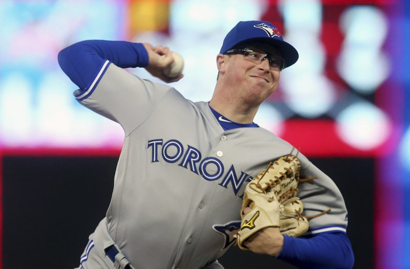 Toronto Blue Jays pitcher Trent Thornton throws against the Minnesota Twins in the first inning of a baseball game Wednesday, April 17, 2019, in Minneapolis. (AP Photo/Jim Mone)