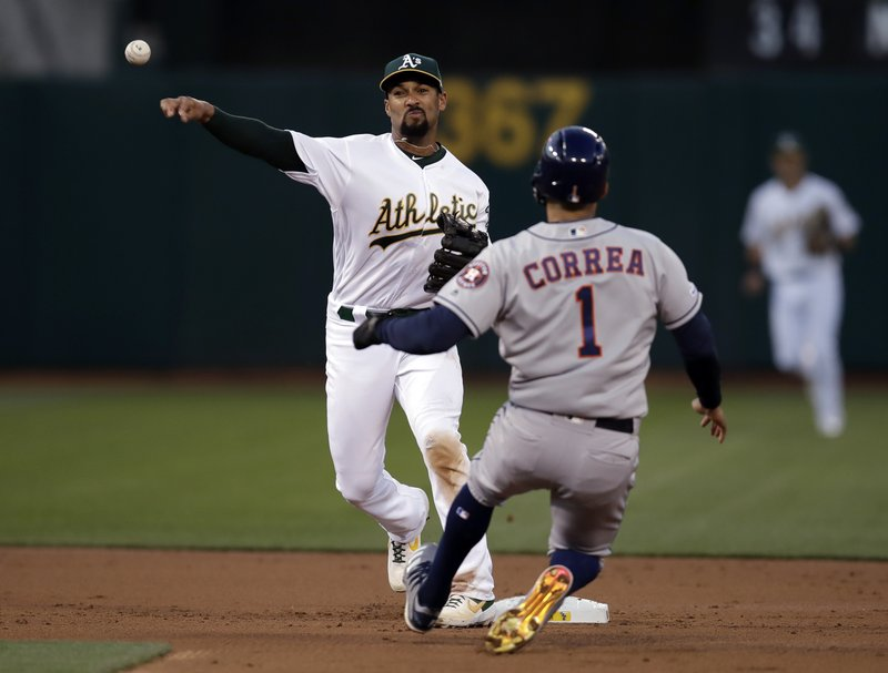 Oakland Athletics' Marcus Semien, left, throws over Houston Astros' Carlos Correa (1) to complete a double play on Josh Reddick during the second inning of a baseball game Wednesday, April 17, 2019, in Oakland, Calif. (AP Photo/Ben Margot)