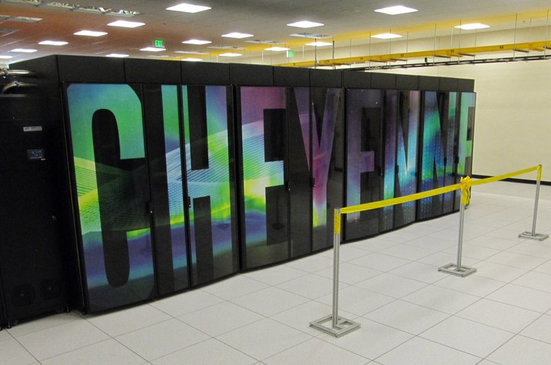 FILE - The Aug. 8, 2017, file photo shows the supercomputer named Cheyenne at the NCAR-Wyoming Supercomputing Center near Cheyenne, Wyo. (AP Photo/Mead Gruver, File)