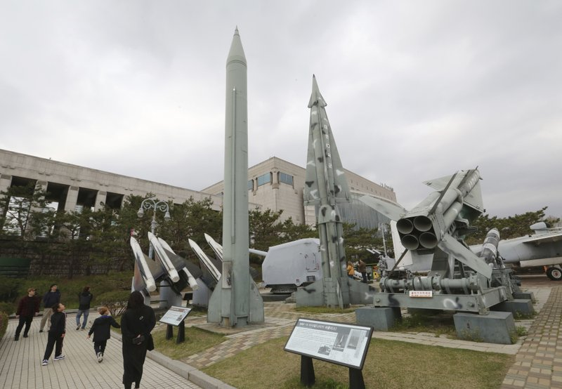 A mock North Korea's Scud-B missile, left, and South Korean missiles are displayed at Korea War Memorial Museum in Seoul, South Korea, Thursday, April 18, 2019. (AP Photo/Ahn Young-joon)