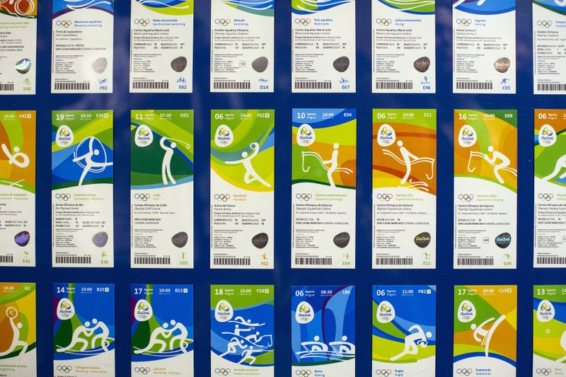 FILE - In this May 20, 2016, file photo, Olympic tickets are displayed during an event at the Rio 2016 headquarters in Rio de Janeiro, Brazil. (AP Photo/Felipe Dana, File)