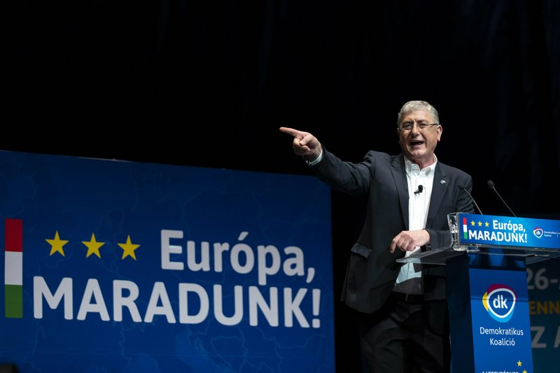 Ferenc Gyurcsany, leader of the leftist opposition Democratic Coalition (DK) speaks during the party's campaign opening event for the European parliamentary elections in Budapest Congress Center in Budapest, Hungary, Sunday, April 14, 2019. (Balazs Mohai/MTI via AP)