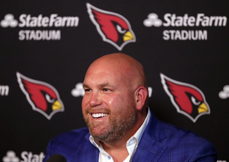 Arizona Cardinals general manager Steve Keim discusses the upcoming NFL football draft during a news conference, Tuesday, April 16, 2019, in Tempe, Ariz. (AP Photo/Matt York)