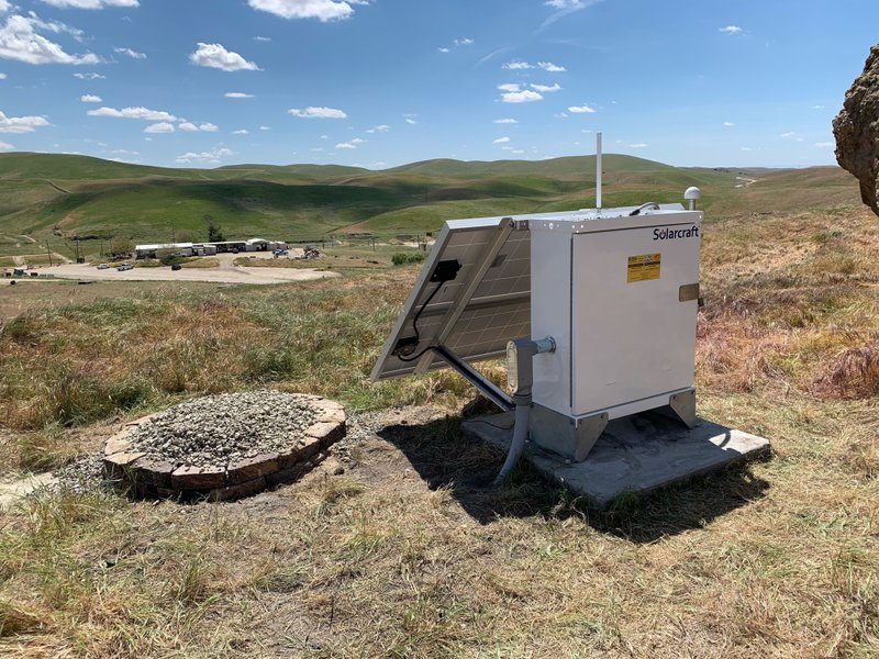 This April 12, 2019 photo provided by the U.S. Geological Survey shows an earthquake monitoring station near Bakersfield, Calif. (USGS via AP)