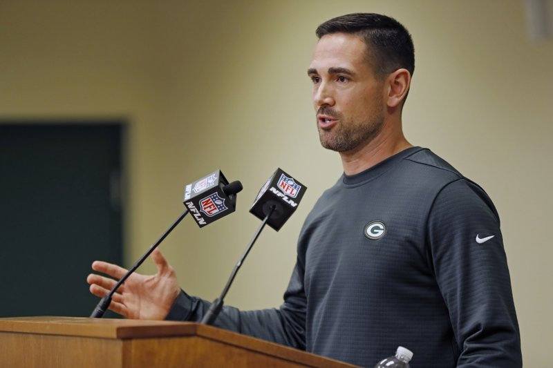 FILE - In this Feb. 18, 2019, file photo, Green Bay Packers' head coach Matt LeFleur addresses the media during a press conference in Green Bay, Wis. (AP Photo/Matt Ludtke, File)